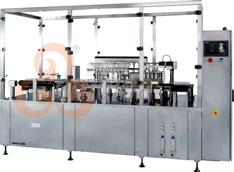 """""""Ambica®"""" Automatic High Speed Multi-Axis Servo Driven Eight Heads Ampoule Filling and Sealing Machine Model: AHAFS-240S"""
