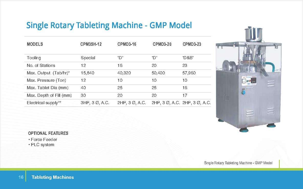 SINGLE ROTARY TABLETING M/C GMP MODEL