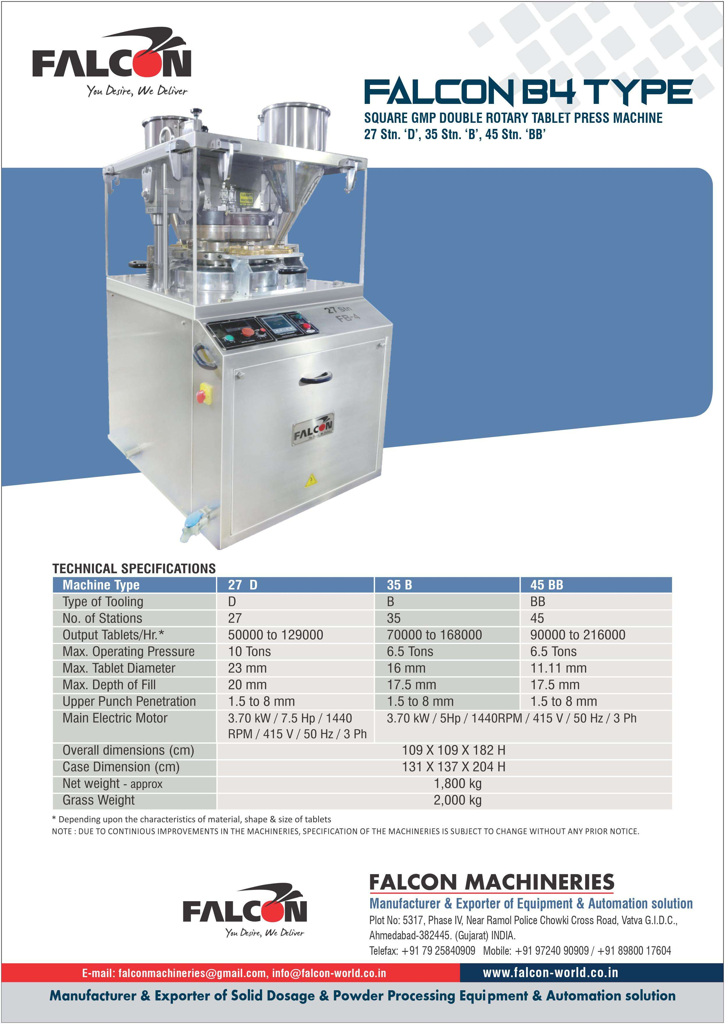 FALCON B4 TYPE DOUBLE ROTARY TABLET PRESS