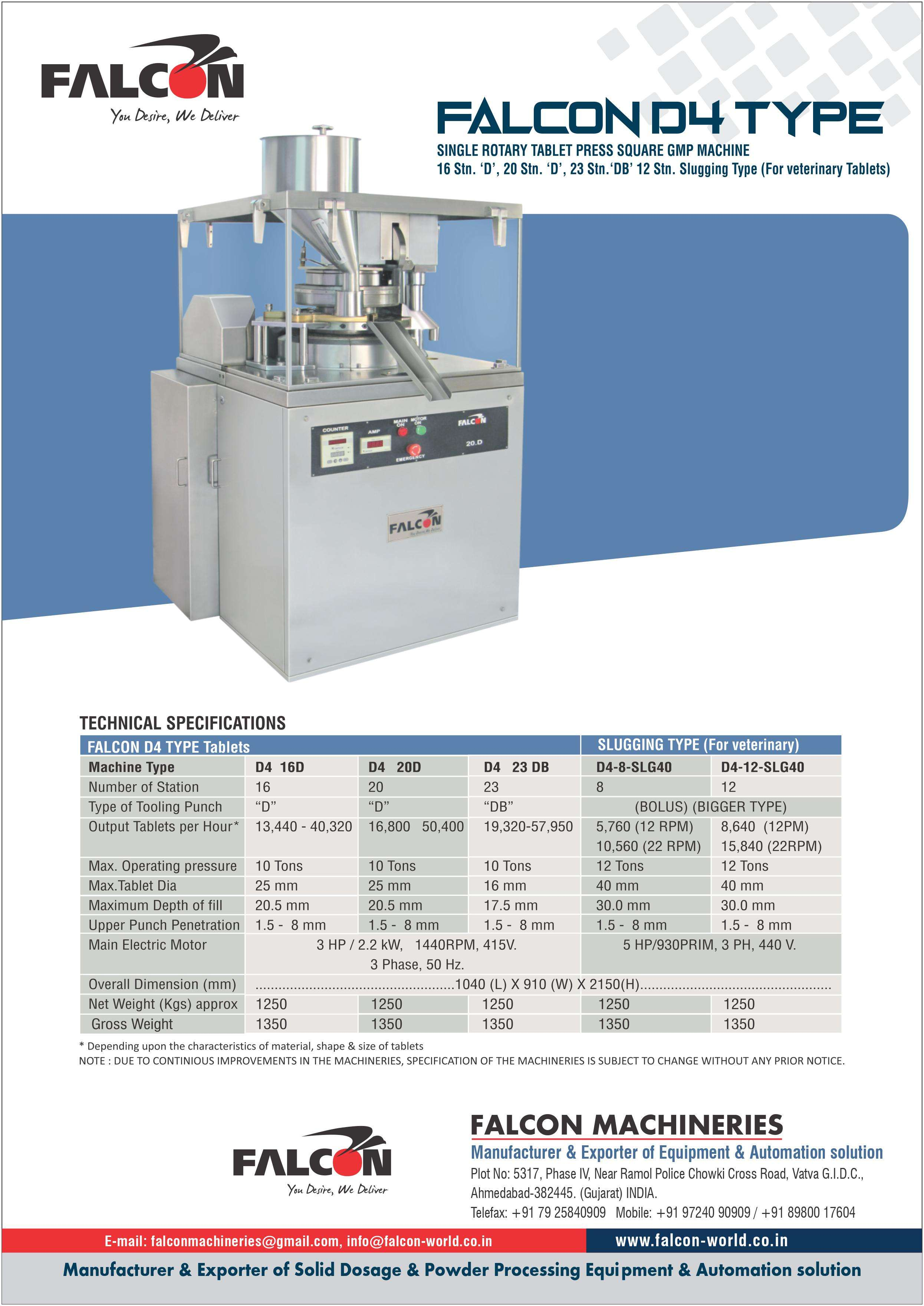FALCON D4 SINLE ROTARY TABLET PRESS