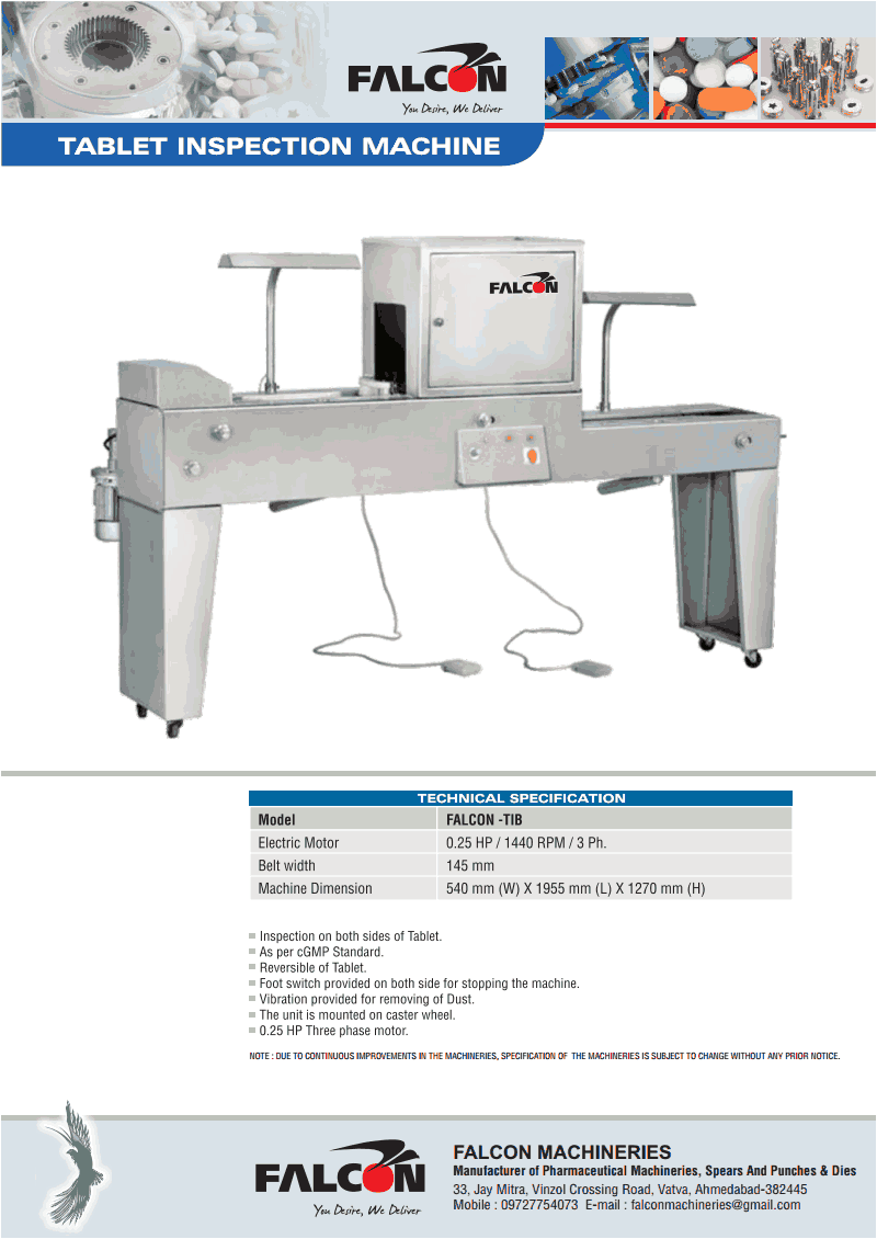 FALCON TABLET INSPECTION MACHINE