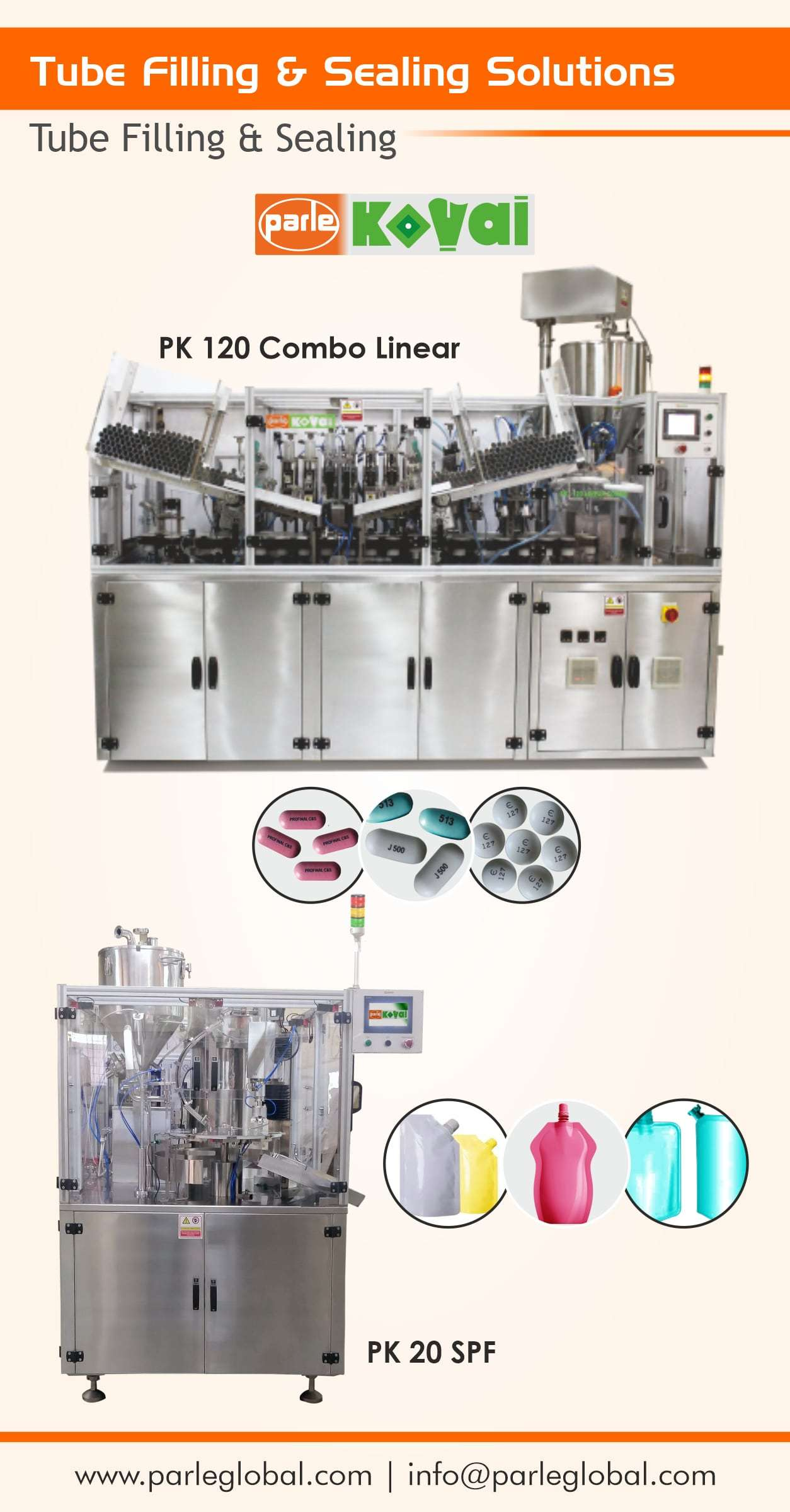 Tube/Jar/Bottle/Spouted Pouch Filling and sealing machines