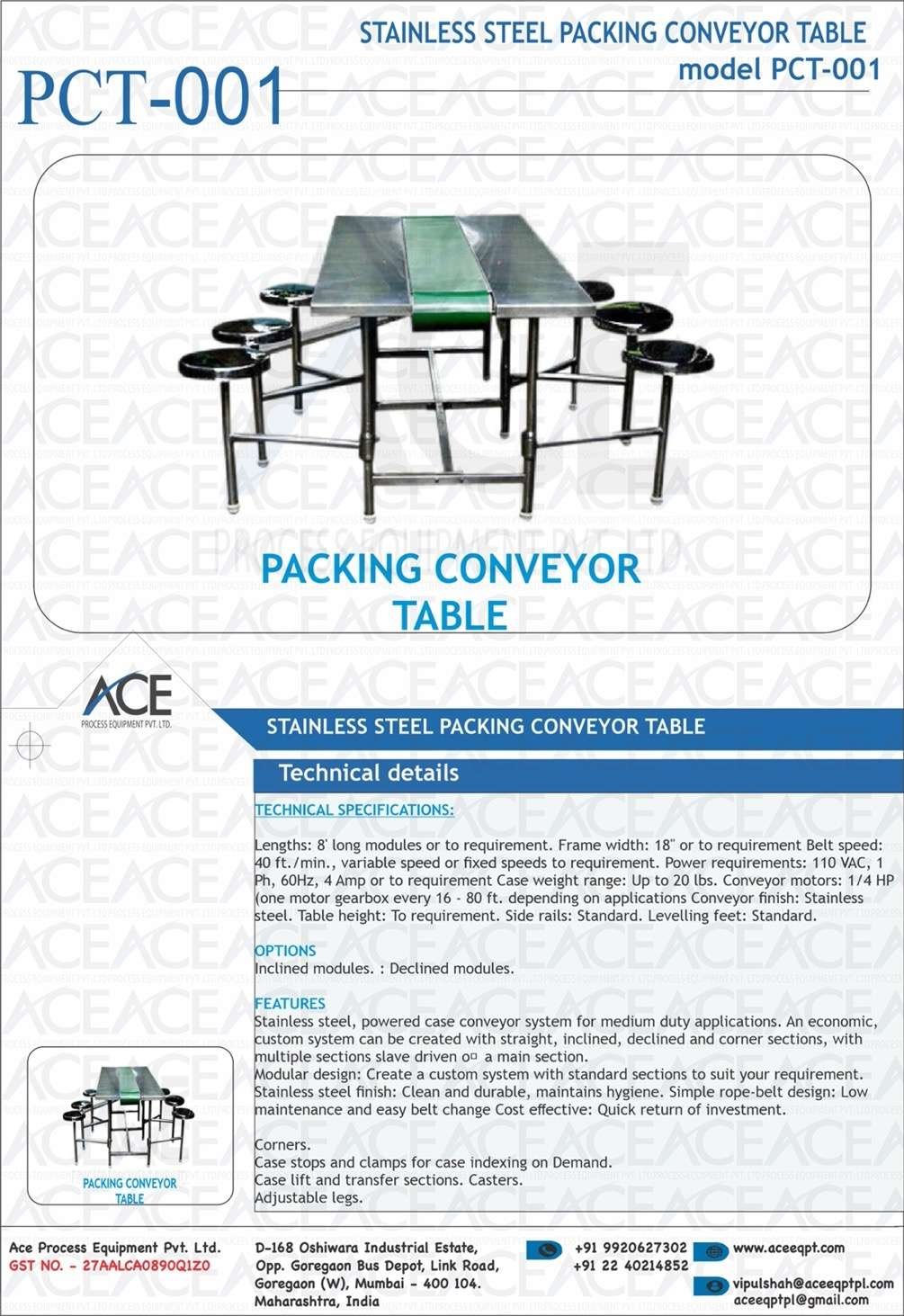 SS PACKING CONVEYOR TABLE