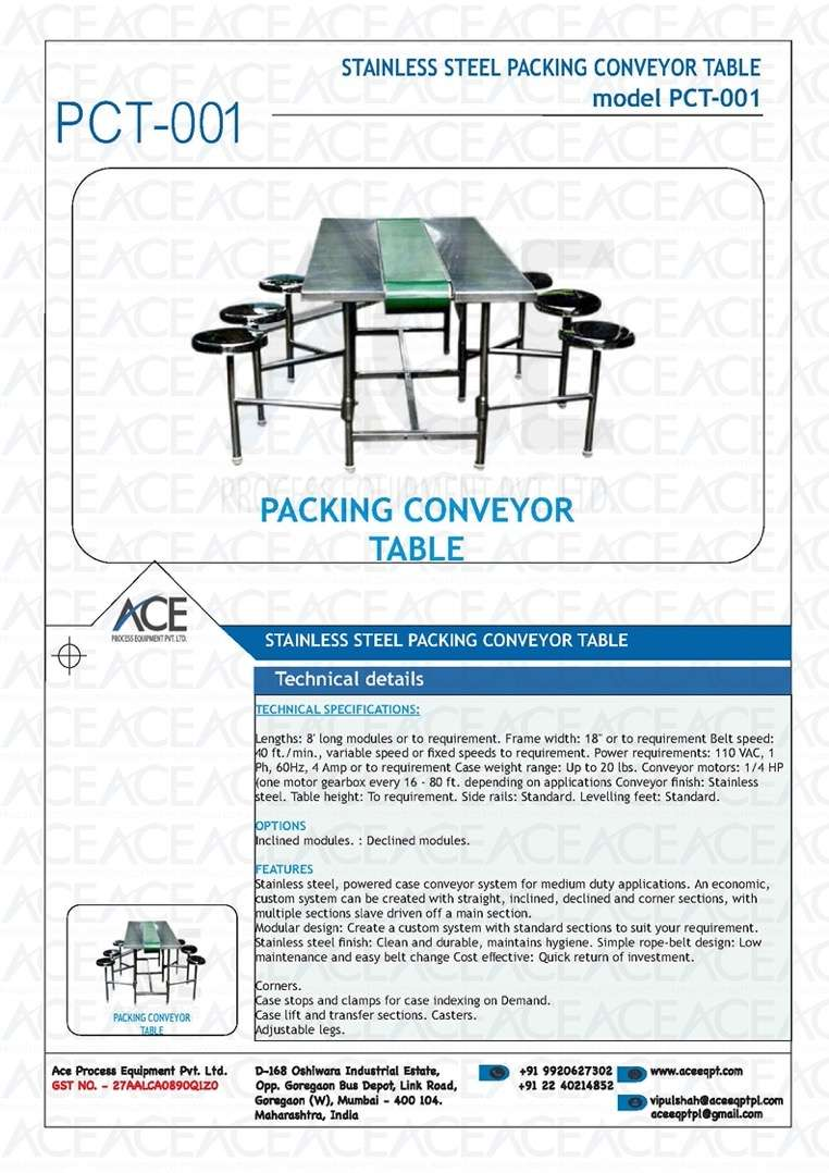 SS CONVEYOR PACKING TABLE