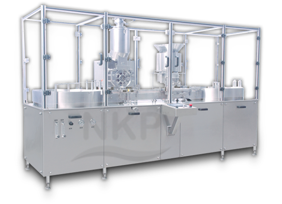 Automatic Injectable Dry Powder Filling Machine with Rubber Stoppering (Automatic Vial Filling Machine) NKPF - 125