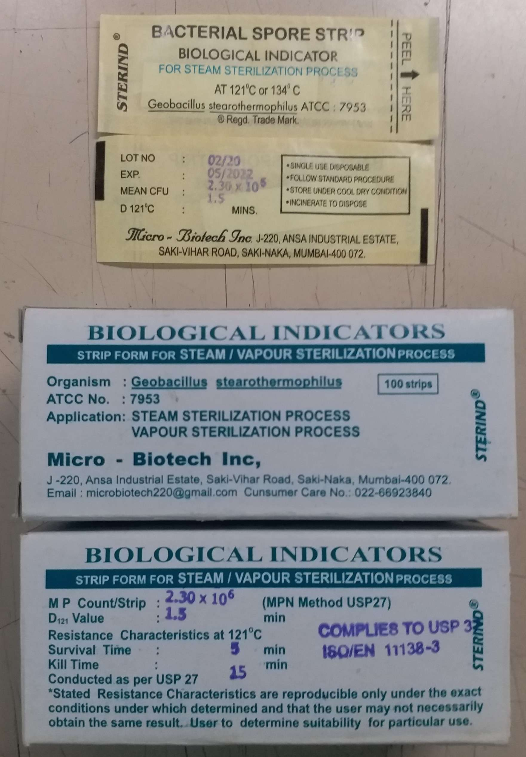 AUTOCLAVE CHECK INDICATORS BIOLOGICAL SPORE STRIPS FOR VADIATION